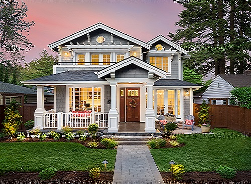 ase insuranace agency - Beautiful Home Exterior at Sunset with Colorful Sky